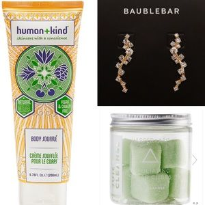 Bundle of BaubleBar earrings and beauty items